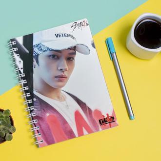 Скетчбук Sketchbook для рисования с принтом Группа Stray Kids Ян Чон Ин Yang Jeong In группы 2
