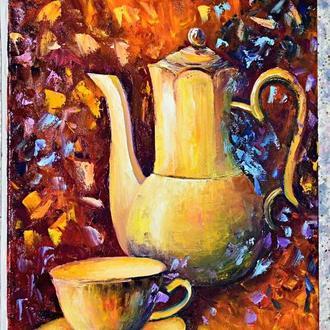 Чайная пара, живопись холст, размер 40х50см