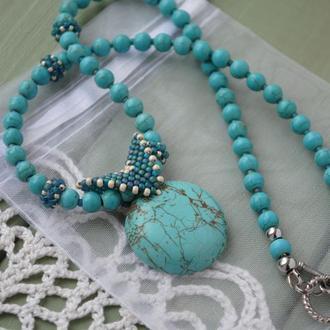 Бирюзовое ожерелье с подвеской и плетеными элементами из японского бисера