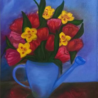 Натюрморт маслом с тюльпанами и нарциссами, холст на подрамнике, 45*35 см