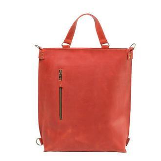 Кожаный рюкзак-трансформер. 01009/красный