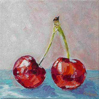 Авторская картина маслом с вишнями