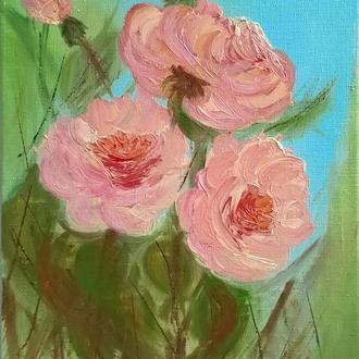 Картина олією Букет троянд, полотно на підрамнику, 40*30 см