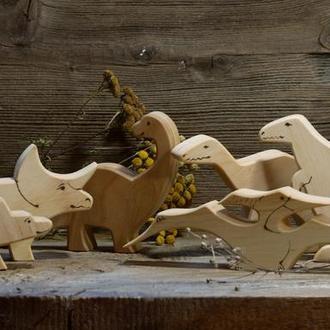 Динозаврики дерев'яні 6 штук