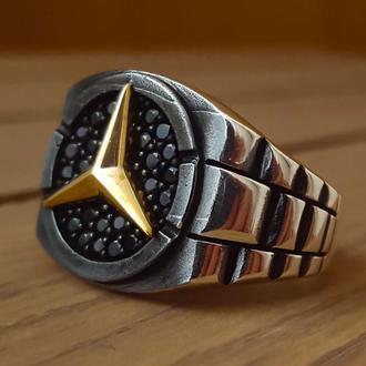 Печатка кольцо марки авто Мерседес Бенц из серебра ручной работы с микрокамнями