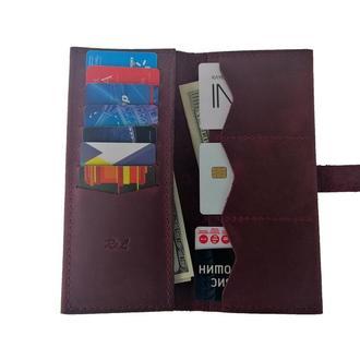 Женский кожаный бумажник бордовый Х13 (10 цветов)