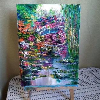"""картина маслом """"Цветущий пруд"""""""