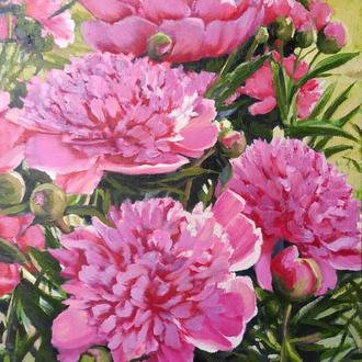 Картина маслом живопись цветы розовые пионы