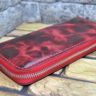 Яркий кошелек с винтажным эфектом K104-red валета
