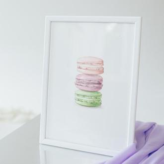 """Авторская акварельная картина """"Macarons"""" на акварельной бумаге"""