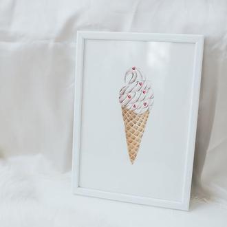 """Авторский акварельный рисунок """"Мороженое"""" на акварельной бумаге"""