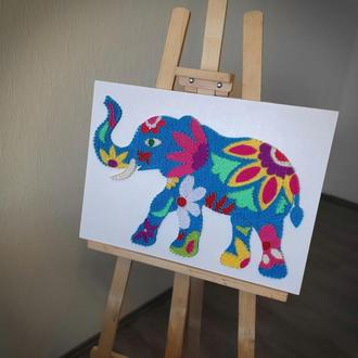 """Картина из ниток и гвоздей """"Слон"""""""