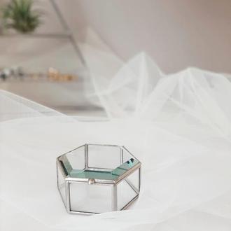 Свадебная шкатулка для обручальных колец. Коробочка для колец из стекла. Шкатулка с фацетом.