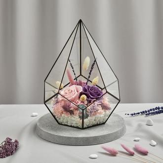 Флорариум «Аметист» с живыми стабилизированными цветами, размер М