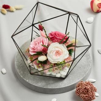 """Флорариум """"Цветочная грация"""" из живых стабилизированных долгосвежих роз, размер M"""
