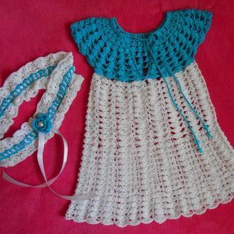 Ручная работа : ажурный комплект для девочки из платья и повязочки на голову .