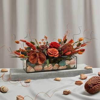 Флорариум-кашпо «Терракот» с живыми стабилизированными цветами