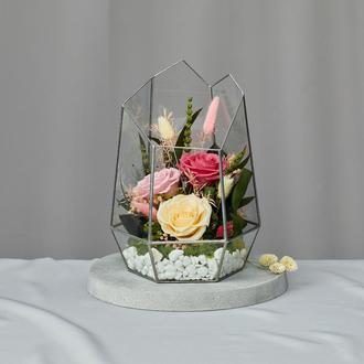 Флорариум-ваза «Цветочный вальс» с живыми стабилизированными цветами