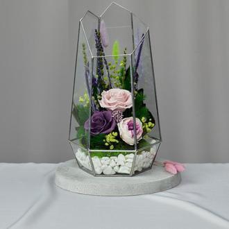Флорариум-ваза «Лавандовые мечты» с живыми стабилизированными цветами