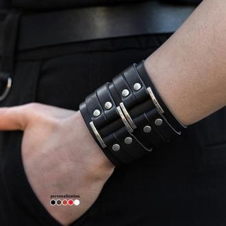 Широкий кожаный браслет, код 3121