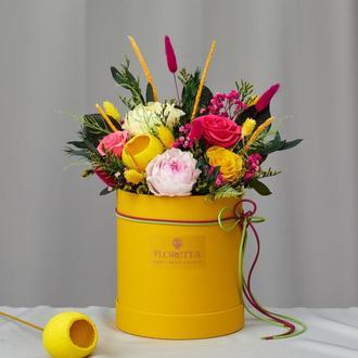 """Букет """"Квітучий сад"""" з живих стабілізованих долгосвежих троянд"""