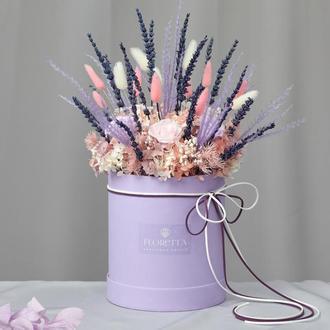 Букет «Очарование Прованса» – живые стабилизированные цветы в шляпной коробке