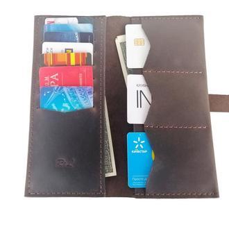 Женский кожаный бумажник коричневый Х13 (10 цветов)