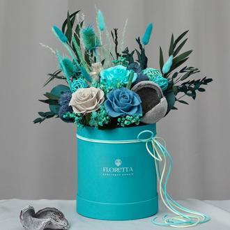 """Букет """"Морський бриз"""" - живі стабілізовані квіти в шляпной коробці"""
