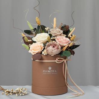 """Букет """"Гармонія"""" з живих стабілізованих долгосвежих троянд"""