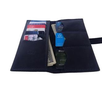 Женский кожаный бумажник синий Х13 (10 цветов)