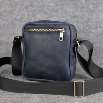 Компактная мужская сумка через плечо |10173| Синий