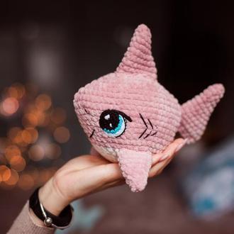 Вязаная игрушка плюшевая Акула Baby Shark