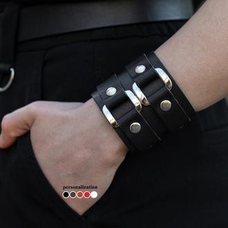 Широкий кожаный браслет с двумя мягкими квадратами, код 3198