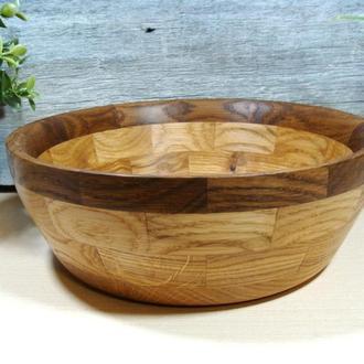 Сегментная деревянная  салатница,мореный дуб-дуб код-043