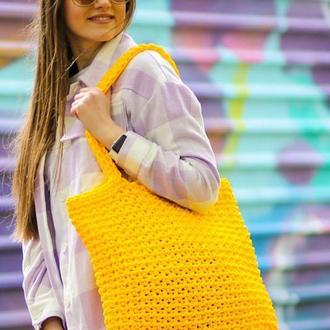 Сумка-шоппер вязаная повседневная жёлтая яркая ручная работа