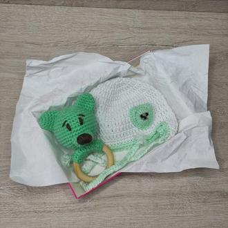 Чепчик и погремушка, вязаная шапка и погремушка для новорожденного