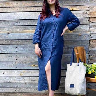 Льняное легкой платье-рубашка миди 100% лен синий кардиган-накидка летняя