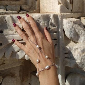 Слейв-браслет из стали с белым жемчугом  ′Жемчужина востока′
