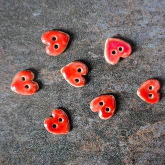 Керамічні ґудзики Серце червоні 17 мм