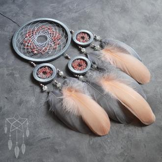 """Нежный серый персиковый ловец снов """"Spring Spirit"""""""
