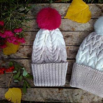 Вязаные шапки для мамы и дочки