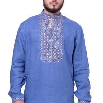 Сорочка чоловіча Бажан (льон сіро-синій)