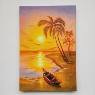 "Картина маслом ""Закат солнца"", морской пейзаж."