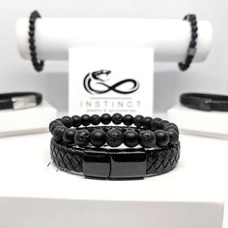 Мужские браслеты из кожи и камней чёрный браслет из натуральной кожи