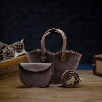Набор коричневая сумка с органайзером Сумка 3в1