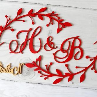 Объемные свадебные буквы с декором высота 30 см.
