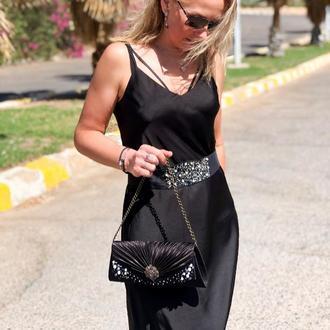 Комплект винтаж : сумка клатч и пояс ,расшиты бусинами и бисером