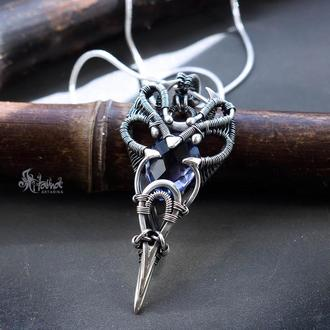 Серебряный кулон с голубым кварцем // Кулон с камнем // Кулон на шею // Фентези кулон