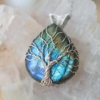 Серебряный кулон дерево жизни из синим лабрадоритом. Кулон природа. Фэнтези украшение wire wrap