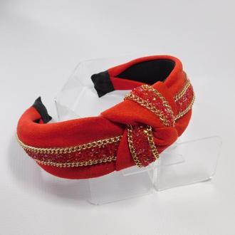 Обруч-чалма, цвет красный
